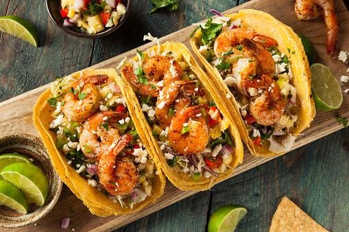 Nice and naughty jerk shrimp tacos