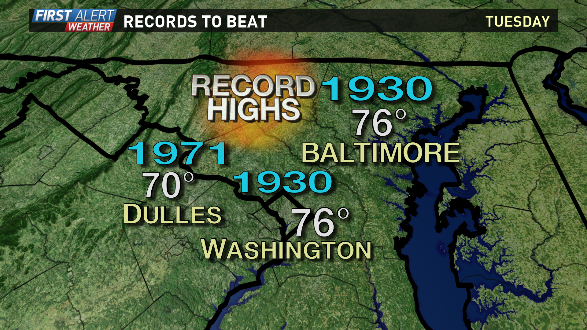 wusa9 com highs in the 70s near record warmth