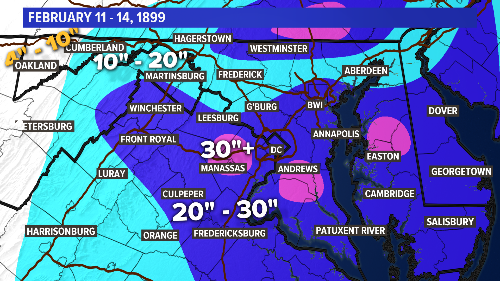 DC's 15 worst winter storms | wusa9.com Snow Aculation Map Machusetts on
