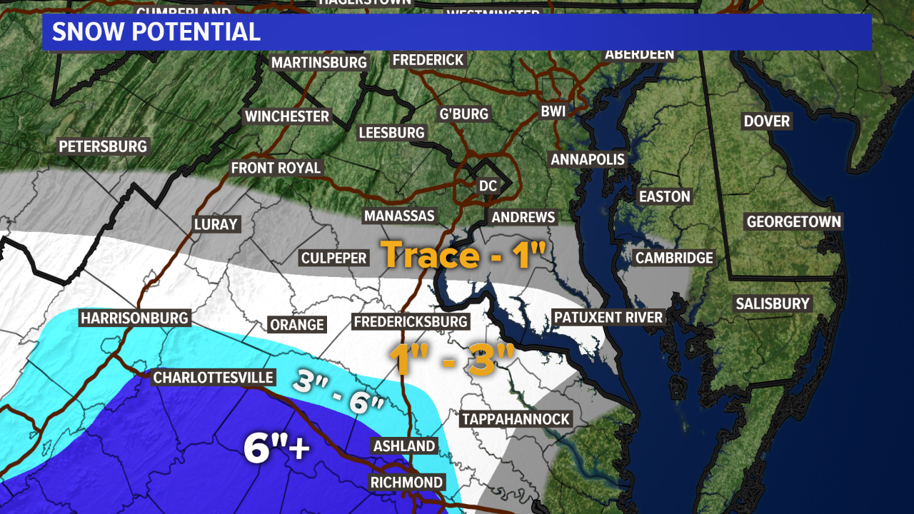 Snow will fall south of DC Sunday, here\'s how much to expect | wusa9.com